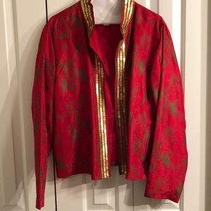 Chicos 100% silk jacket red size 3. Like new